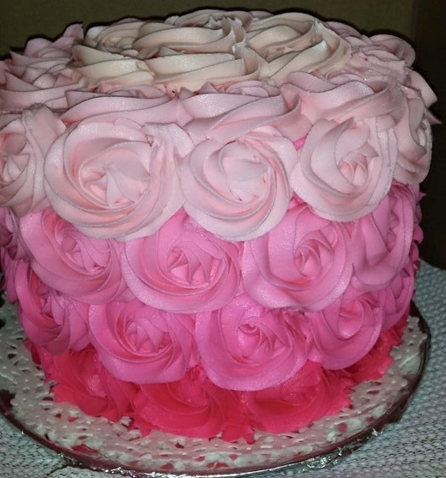 Buttercream Ombre Rosette Cake Cakecentral Com