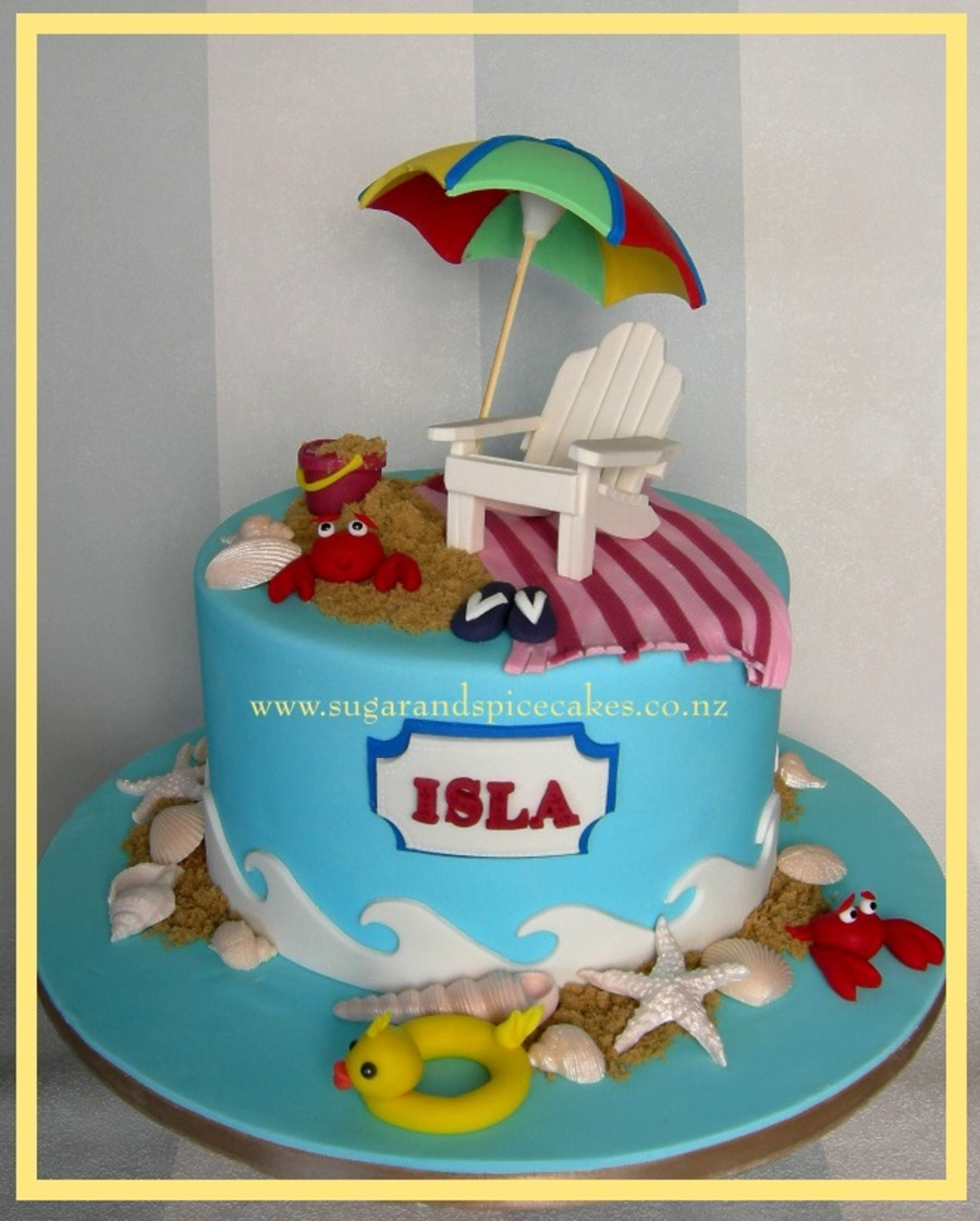 Edible Beach Themed Cake Decorations: Beach Themed Cake