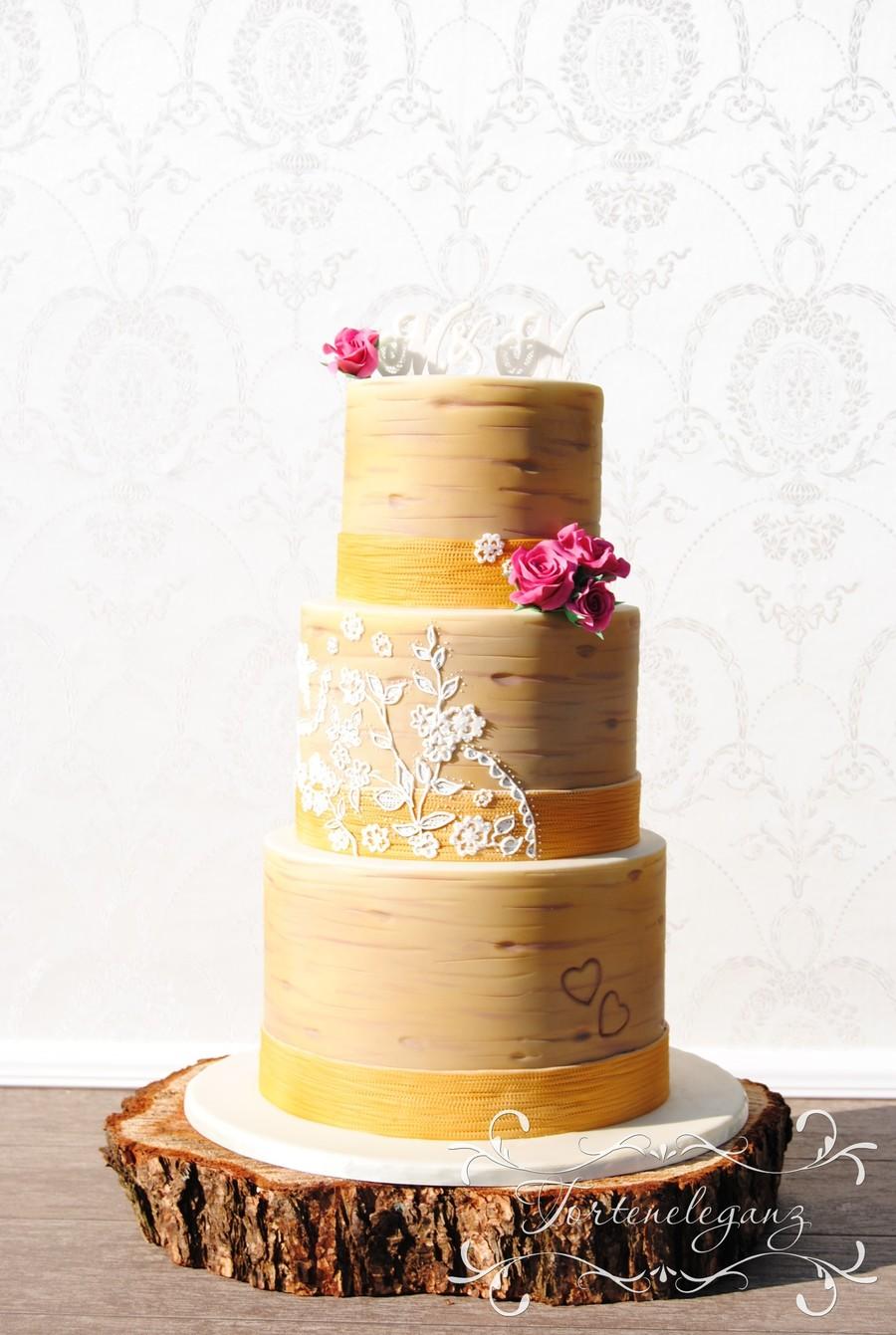Rustic Wedding - Custom Lace On A Birch Cake With Burlap Ribbon ...