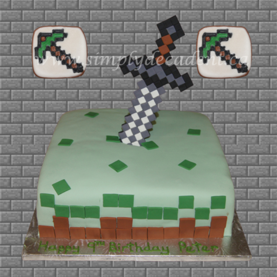 Minecraft Sword Cake With Pickaxe Cookies Cakecentral Com