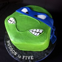 Tmnt - Leonardo The mom did not want fondant, so this is buttercream with fondant accents. The birthday boy picked the design. He wanted the 'mean&#...