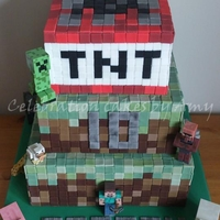 Minecraft Made with chocolate fudge cake and endless days/hours of cutting squares!