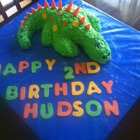 Dinosaur Cake  This is the cake I made for my nephew's 2nd birthday. Yellow cake with buttercream frosting and fondant accents. Question: how much...