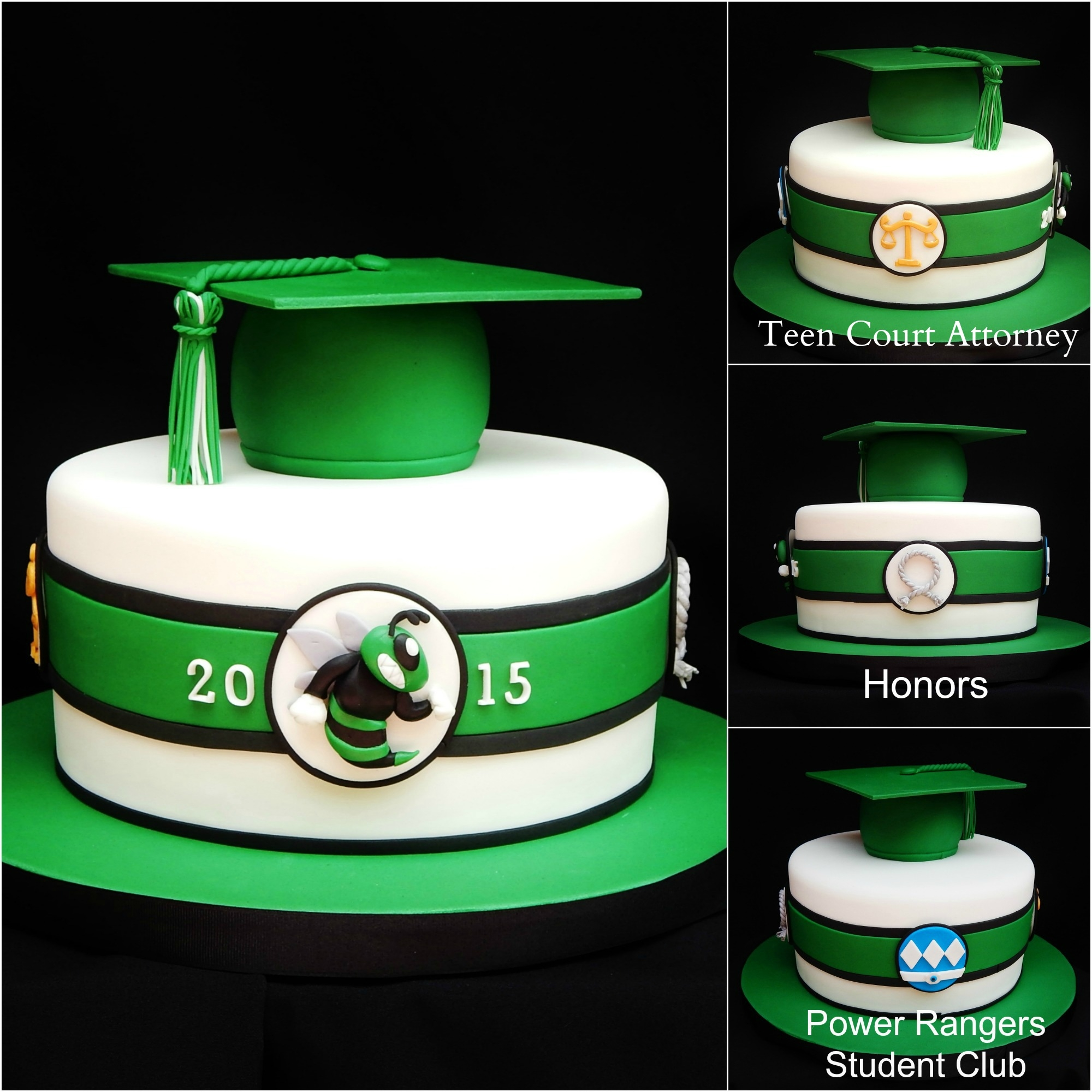 "Graduation cap is rice crispy. 9"" Chocolate cake with buttercream and fondant"