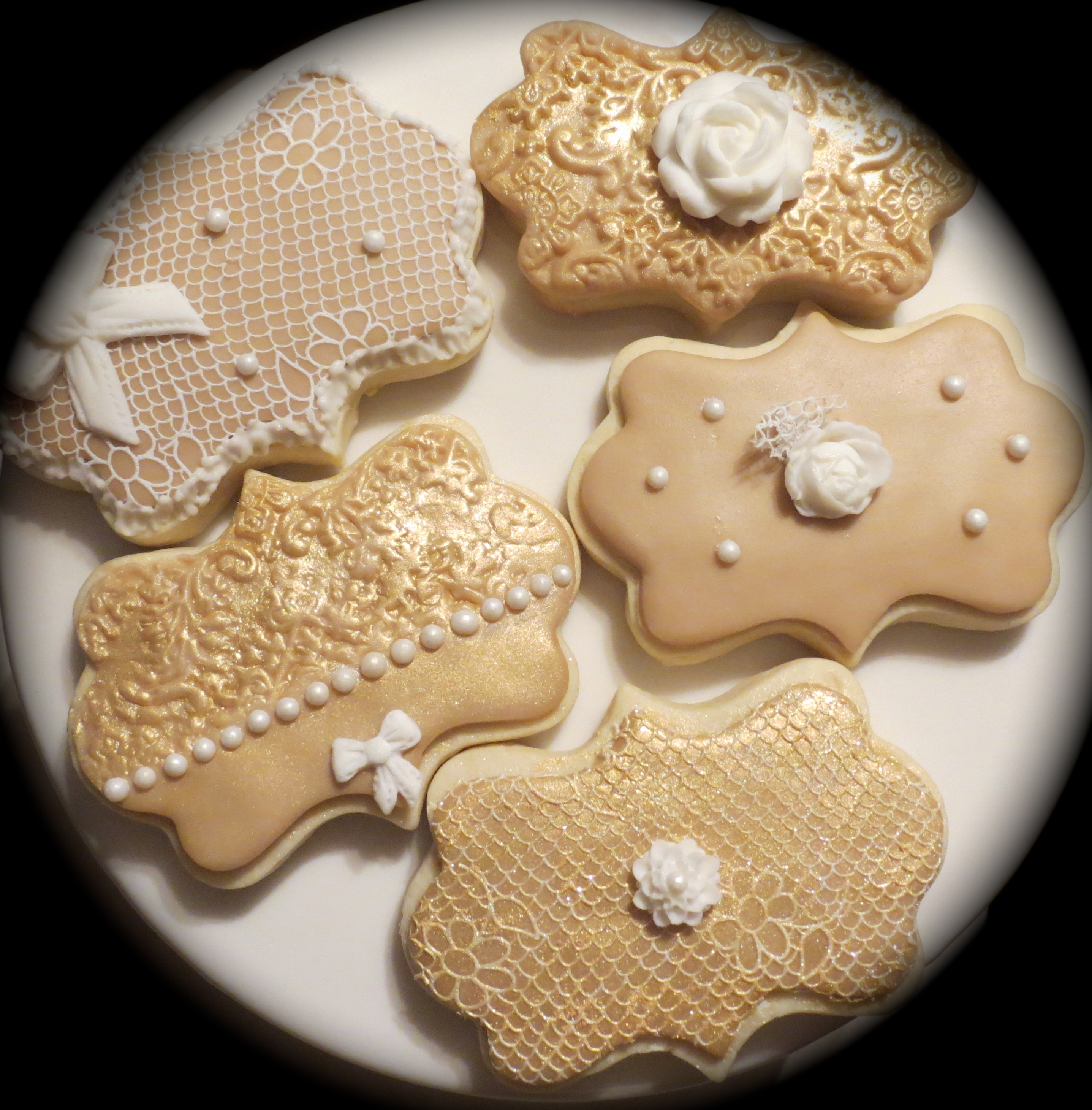Gold And Lace Lemon Zest Sugar Cookies.Decorated with cake lace, royal icing and fondant embellishments.