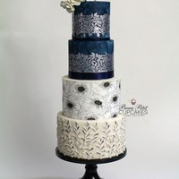 "Subtle Charm ""Subtle Charm""....Inspired by the beauty of nature during summer night walks. Rustic textured dusty millers adorn the bottom tier..."