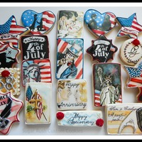 4Th Of July Anniversary Cookies For a wonderful couple celebrating 58 yrs of marriage on the 4th of July.