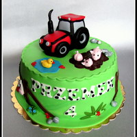 Country Cake   birthday czildren's cake tractor and animals