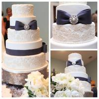 Lace And Navy Fondant with Fondant Lace and Ribbon