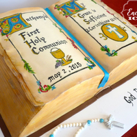 Antique Bible First Communion Cake Bible cake had to be antiqued, so I painted illuminated (gold) letters on the cake. Too bad they don't show up as gold in the photo as...