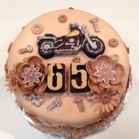 Nuts Bolts & Screws Motorcycle Cake W Steampunk Flowers Chocolate Cake w/Chocolate Ganache & Tonkabean SMButtercream. Fondant with Chocolate Motorcycle & Numbers