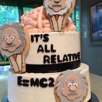 Einstein Cake For Engagement Party For A Physicist And Neurobiologist   Buttercream with Fondant accents