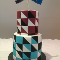 Geometric Birthday Cake Geometric design in sporting team colours for a birthday.
