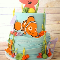 "Under The Sea Cake Under the Sea Cake -- Two-tier (6"" round over 8"" round) chocolate cake with chocolate ganache and vanilla buttercream filling,..."