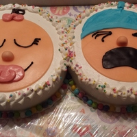 Two Babies I just love the little baby face cakes so I was thrilled to be able to make one of each for the same couple!