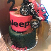Jeep And Tire   Had a matching tire smash cake but forgot to take a picture.