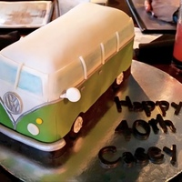 Vw Bus Covered and fondant and decorated with modeling chocolate