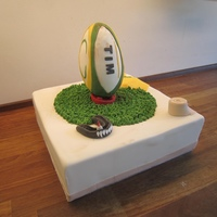 Rugby Cake 12 Inches yellow cake and RKT ball