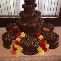 Tower Of Truffle Wedding Cake 700 Truffles, 25 lbs of chocolate for the plates and bowl, Chocolate fudge buttercream