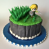 Zelda Wind Waker Cake  Link enjoying cutting grass along his epic journey !~ 1 tier : 9'' round pan, tier composed by :4 layers of Vanilla cake~...