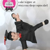 Dance Graduate Fondant Cake Topper Custom made for an etsy customer who wanted it for a young man who won a dance competition
