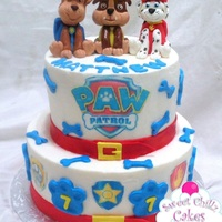 Paw Patrol 2 Tier Paw Patrol covered in buttercream with fondant decorations