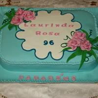 96Th Birthday Yellow sponge cake filled with eggs cream, covered with sugar paste. The roses are made with gum paste.