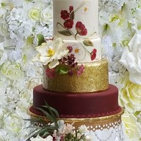 Marsala Inspired Inspired by Pantone's color of the year, Marsala, this hand-painted cake was made for a photo shoot. The flowers are all made from gum...
