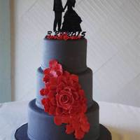 "Cascading Giant Rose Wedding Cake 6/8/10"" Charcoal grey with red giant cascading rose."