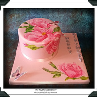 Hand Painted Hand Painted Gluten Free Vanilla Cake with hand painted Roses on the Cake...and Wafer Butterflys