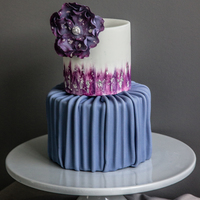 Purple Fantasy Flower Cake With Silver Leaf this was a birthday cake for a 21 yr old