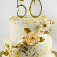 50Th Anniversary Cake Stacked cake for a golden celebration.