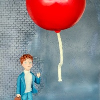 "The Red Balloon This is my birthday cake, inspired by the amazing french film ""Le Ballon rouge"" . The balloon is not touching the wall nor the &..."