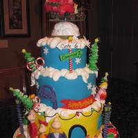 Whoville Birthday covered in MMF, all decos are fondant/gumpaste, little car is RKT. Royal icing snow. topper was supplied by customer.