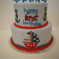 Nautical Theme First Birthday Cake. Buttercream finish with fondant details.
