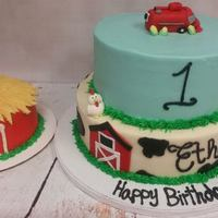 Farm Themed 1St Birthday Farmed themed first birthday cake with fondant figures and a little barn smash cake to go with.