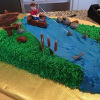 Fishing Cake Fondant decorations on buttercream