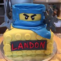 Lego Ninja Cake two tiered covered in fondant