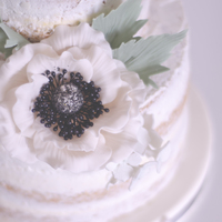First Love... Naked Cake: Lemon and poppy seed cake, swiss buttercream with lemon curd and sugar flower...