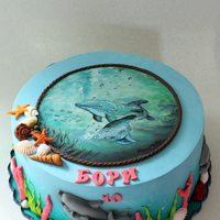 Dolphins Cake - Hand Painted For more pictures you can visit my FB page here https://www.facebook.com/media/set/?set=a.708480229257057.1073742540.107999342638485&...