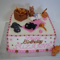 Crazy Cat Lady Cake For a girl who loves cats. Buttercream finish with fondant details.