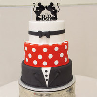 "Mickey Inspired Wedding Cake 8/10/12"". Bow tie, polka dots and tuxedo. Topper provided by couple."
