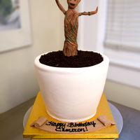 "I Am Groot White cake, white chocolate ganache, covered in white fondant. I used crushed oreo cookies for the ""dirt""."