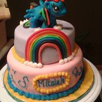 Rainbow Dash My Little Pony Scratch Strawberry with Vanilla Buttercream and MMF