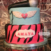 Rock Star Birthday cake for Amaya. Cakes covered with fondant. Microphone made out of RKT and covered with fondant