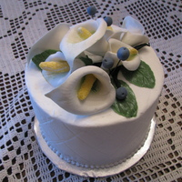 Calla Lily And Blueberries Gumpaste Calla Lily tier for Wedding