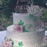 My Daughters Rustic Wedding Cake Did not turn out the way I envisioned it but did my best.
