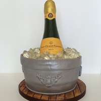Champagne Ice Bucket Chocolate cake filled and covered with chocolate buttercream