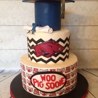 Arkansas Grad Cake Had so much fun doing this. Fondant grad cap, gumpaste diploma and edible image wrap on bottom