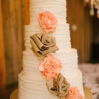 Rustic With Burlap And Sugar Roses   Buttercream with burlap and gumpaste roses